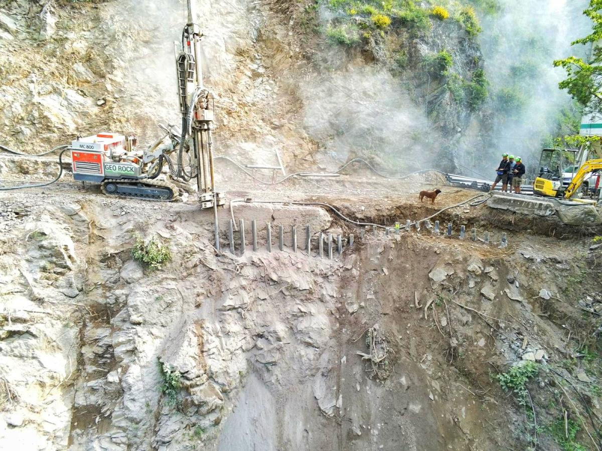 Micropiles to Consolidate Road in Val Borzago